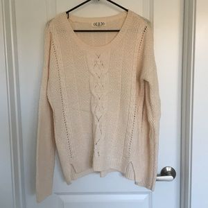 Pink Rose Cream/off white knit sweater size XL